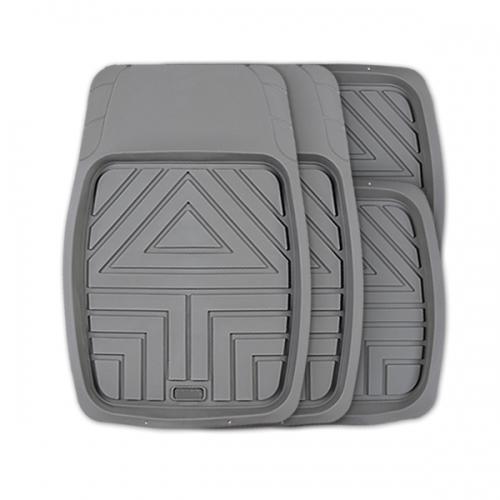 Коврики автомобильные Autoprofi Arrow, универсальные, цвет: серый, 4 предметаTER-110 GYКомплект универсальных ковриков-ванночек Autoprofi Arrow с рисунком в виде стрелы гармонично смотрится в салоне любого автомобиля. Насечки для разреза передних ковриков позволяют придать им форму, соответствующую выемкам днища. Благодаря этому они плотно прилегают к полу, защищая его от грязи и влаги. Коврики изготавливаются из термопласта-эластомера, который отличается небольшим весом, отсутствием характерного для резины запаха и сохраняет эластичность при экстремально низких температурах - до -50°С. Материал устойчив к износу и воздействию агрессивных веществ - масла, топлива, дорожных реагентов, а также обладает высокими фрикционными свойствами. Они не позволяют коврикам скользить по салону и под ногами водителя и пассажира. Характеристики: Материал: термопласт-эластомер. Цвет: серый. Комплектация: 4 шт. Температура использования ковриков: от -50°С до +50°С. Размер переднего коврика: 70 см х 49 см. Размер заднего коврика: 49 см х 47 см. ...
