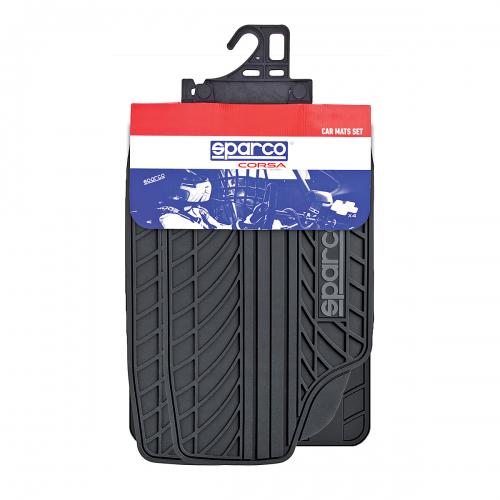 Ковры автомобильные Sparco Classic, ПВХ, морозоустойчивые, цвет: черный, серый, 4 предметаSPC/CLS-504 BK/GYАвтомобильные ковры Sparco Classic изготовлены из ПВХ, который сохраняет эластичность даже на морозе, устойчив к воздействию агрессивных веществ, таких как масло, топливо или дорожные реагенты, и легко чистится. Универсальная форма изделий позволяет использовать их на большинстве автомобилей. Специальные насечки помогают корректировать размер ковриков под профиль днища. Внешний вид ковриков напоминает рисунок протектора автомобильных покрышек. Подобный дизайнерский элемент придает салону ярко выраженные спортивные черты и способствует тому, что коврики надежно лежат на поверхности пола и не скользят под ногами по время движения. Характеристики: Материал: ПВХ. Цвет: черный, серый. Комплектация: 4 шт. Размер упаковки: 5 см х 75 см х 47 см. Артикул: SPC/CLS-504 BK/GY.