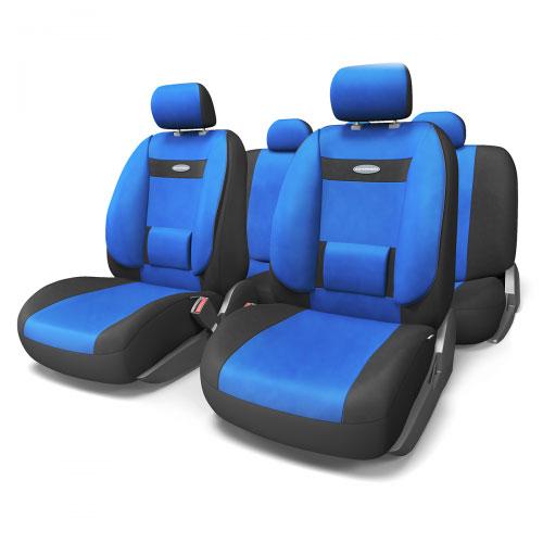 """Набор ортопедических авточехлов Autoprofi """"Comfort"""", велюр, цвет: черный, синий, 11 предметов. Размер M. COM-1105 BK/BL (M)"""