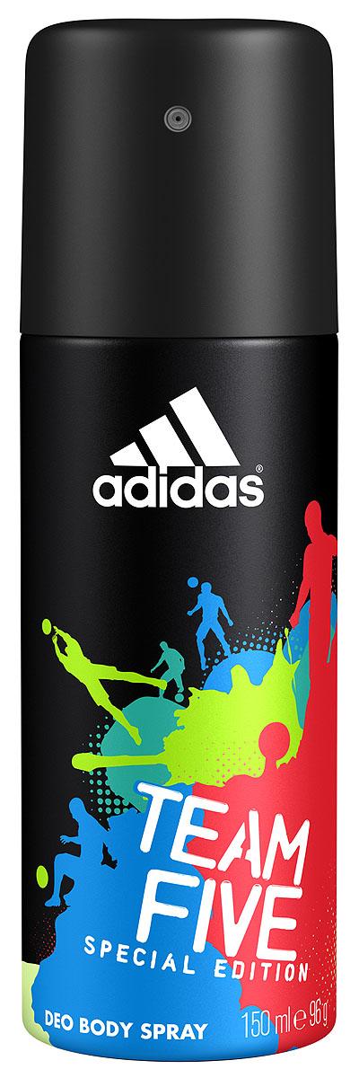 Adidas Дезодорант-спрей Team Five, мужской, 150 мл3400039281Линейка продуктов Team Five отражает основные качества настоящих игроков: стремление к победе, силу воли, горячее желание сделать свою жизнь лучше и играть в ней ключевую роль по своим правилам. Дезодорант-спрей Adidas Team Five насыщен динамичным звучанием, балансирующим на грани между чувственностью и свежестью. Он наделен множеством оттенков, подчеркивает уверенность в своих силах, силу и энергию молодости, шарм и элегантность.
