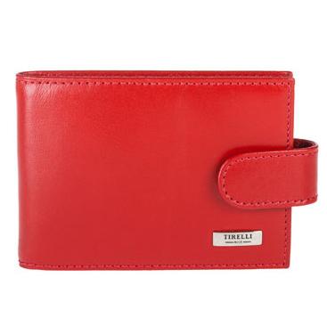 Футляр для карточек Tirelli Классик, цвет: красный. 15-313-0615-313-06Футляр для карточек Tirelli Классик изготовлен из натуральной кожи красного цвета с матовой текстурой. Футляр закрывается хлястиком на кнопку, оформлен фирменным логотипом. Внутри имеется 10 двусторонних кармашков из прозрачного пластика для хранения пластиковых карт, визиток, дисконтных карт и т. п. Такой футляр не только поможет сохранить внешний вид ваших документов и защитит их от повреждений, но и станет ярким аксессуаром, который подчеркнет ваш образ. Изделие упаковано в подарочную коробку синего цвета с логотипом фирмы Tirelli.