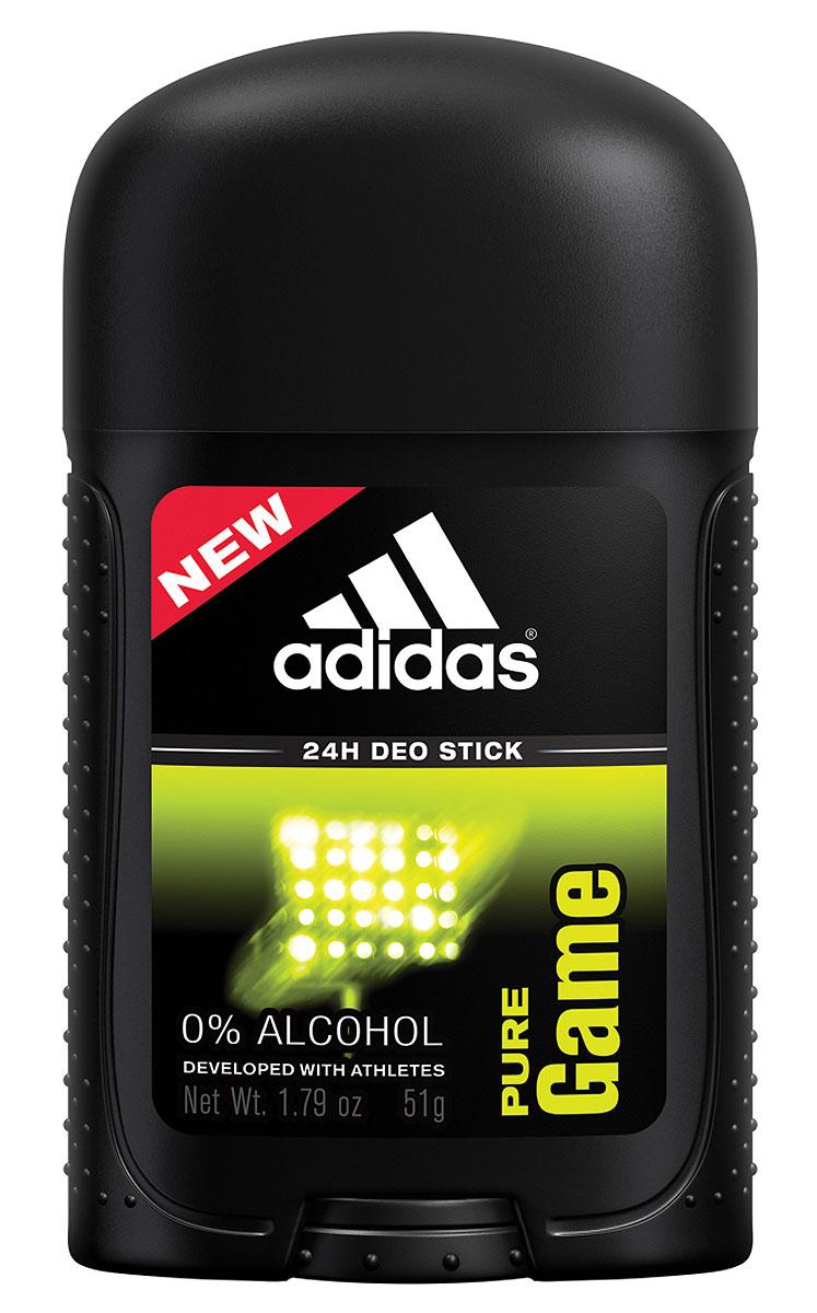 Adidas Дезодорант-стик Pure Game, мужской, 51 г34000925211Пряный древесный аромат. Разработан при участии спортсменов. Отвечает потребностям большинства мужчин, ведущих активный образ жизни. Усовершенствованные формулы дезодорантов Adidas нейтрализуют запах пота и оставляют ощущение свежести 24 часа.