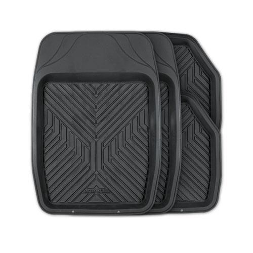 Коврики автомобильные Autoprofi Groove, универсальные, цвет: черный, 4 предметаTER-150 BKУниверсальные автомобильные коврики Autoprofi Groove изготовлены из термопласта-эластомера, который отличается небольшим весом, отсутствием характерного для резины запаха и высокой износостойкостью. Инновационный материал сохраняет свою эластичность даже при экстремально низких температурах до -50°С и устойчив к воздействию агрессивных веществ, таких как масло, топливо или дорожные реагенты. Насечки для разреза на передних ковриках позволяют придать им различную форму и подогнать под нужный профиль днища, надежно изолировав его от грязи и влаги. Высокие фрикционные свойства материала ковриков не дают им скользить по салону и под ногами водителя и пассажира. Характеристики: Материал: термопласт-эластомер. Цвет: черный. Комплектация: 4 шт. Температура использования: от -50°С до +50°С. Размер переднего коврика: 69 см х 48 см. Размер заднего коврика: 48 см х 48 см. Размер упаковки: 5 см х 69 см х 48 см. Артикул: TER-150 BK.