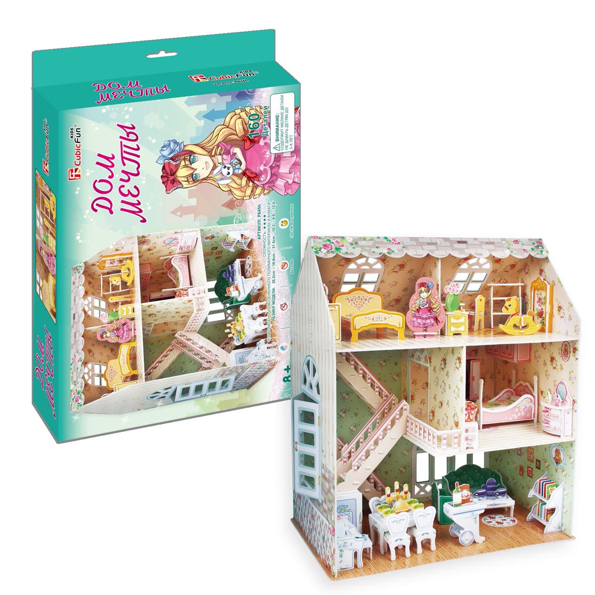 CubicFun Дом мечты, 160 деталейP645hКонструктор-макет Дом мечты - интересный 3D пазл-конструктор, который несомненно понравится и взрослым, и детям. Яркий, красочный Пазл 3D Дом мечты, CubicFun (КубикФан) подойдет как для игры в куклы, так и для наглядности и украшения детской комнаты. Конструктор сделан из листа ламинированного пенокартона. Данная модель входит в Рождественскую серию, поэтому она будет идеальным подарком на Новый год, на день Святого Николая или на Рождество. Пусть ваша дочь самостоятельно соберет свой домик мечты, тем более это так легко - без клея и ножниц. Достаточно просто выдавить нужные детали и соединить их друг с другом по схеме. Пазл обирается без использования клея и ножниц, составные элементы отлично соединяются между собой с помощью специальных соединительных приспособлений. Готовая композиция станет отличным украшением интерьера. Собирание пазла способствует развитию логического мышления, внимания, мелкой моторики и координации движений. Рекомендуемый возврат:...