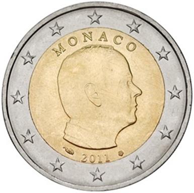 Монета номиналом 2 евро Князь Альбер II. Монако, 2011 годF30 BLUEМонета номиналом 2 евро Князь Альбер II. Монако, 2011 год Диаметр 2,5 см. Сохранность UNC (без обращения).