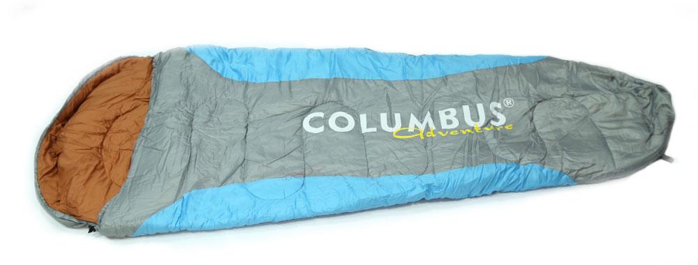 Спальный мешок-кокон Columbus 300, цвет: голубой, серый2789Спальный мешок Columbus 300 - незаменимая вещь для любителей уюта и комфорта во время активного отдыха. Конструкция данного спального мешка - это так называемый кокон с подголовником. Подкаладка мешка выполнена из смесовой ткани - это ткань, состоящая из натуральных и искусственных волокон или нитей, смешанных в различных пропорциях. Этот теплый спальный мешок спасет вас от холода во время туристического похода, поездки на рыбалку даже в межсезонье и зимой.