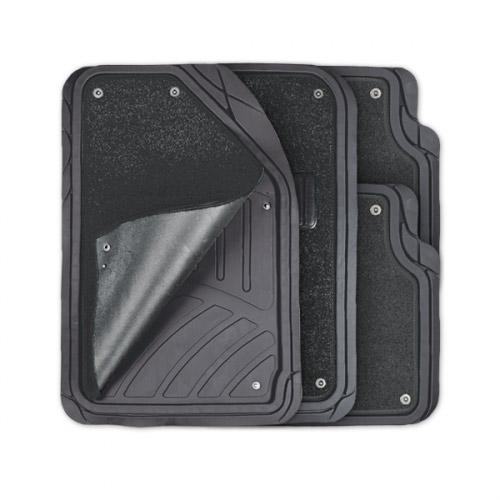 Коврики автомобильные Autoprofi Focus 2, универсальные, морозостойкие, цвет: черный, 4 предметаTER-420 BKКоврики Autoprofi Focus 2 оснащены слоем мягкого и привлекательного ковролина, который придает салону автомобиля уют и комфорт. При необходимости ковролин можно легко отстегнуть, почистить и высушить. В качестве основы ковриков используется термопласт-эластомер, который сохраняет свою эластичность при очень низких температурах - до -50°С. Материал характеризуется небольшим весом, отсутствием типичного для резины запаха и высокой износостойкостью. Насечки для разреза на поверхности ковриков помогают корректировать размер и форму изделий, адаптируя их под профиль днища. Благодаря этому и высоким фрикционным качествам термопласта-эластомера коврики не скользят под ногами и плотно лежат на поверхности пола, защищая его от грязи и влаги. Характеристики: Материал: термопласт-эластомер. Цвет: черный. Комплектация: 4 шт. Температура использования ковриков: от -50°С до +50°С. Размер переднего коврика: 72 см х 50 см. Размер заднего коврика: 50 см х 55...