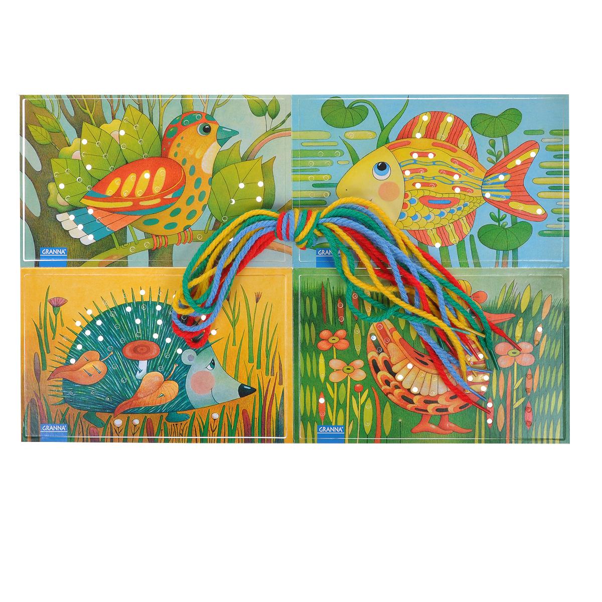 Развивающая игра Bondibon ШнуровкаВВ0999Увлекательная развивающая игра Bondibon Шнуровка позволит вашему ребенку весело и с пользой провести время. Игра состоит из четырех карточек для шнуровки с изображениями птички, ежика, рыбки и уточки, восьми шнурков синего, красного, голубого и зеленого цветов (по два каждого цвета) и подробной инструкции на русском языке. Необходимо продеть шнурки в дырочки на картинке. Чтобы прошнуровать карточку, можно взять шнурки одного или нескольких цветов. С разноцветными шнурками она и та же картинка всякий раз будет выглядеть по-новому. Игра развивает мелкую моторику, внимание, пространственное воображение и координацию.