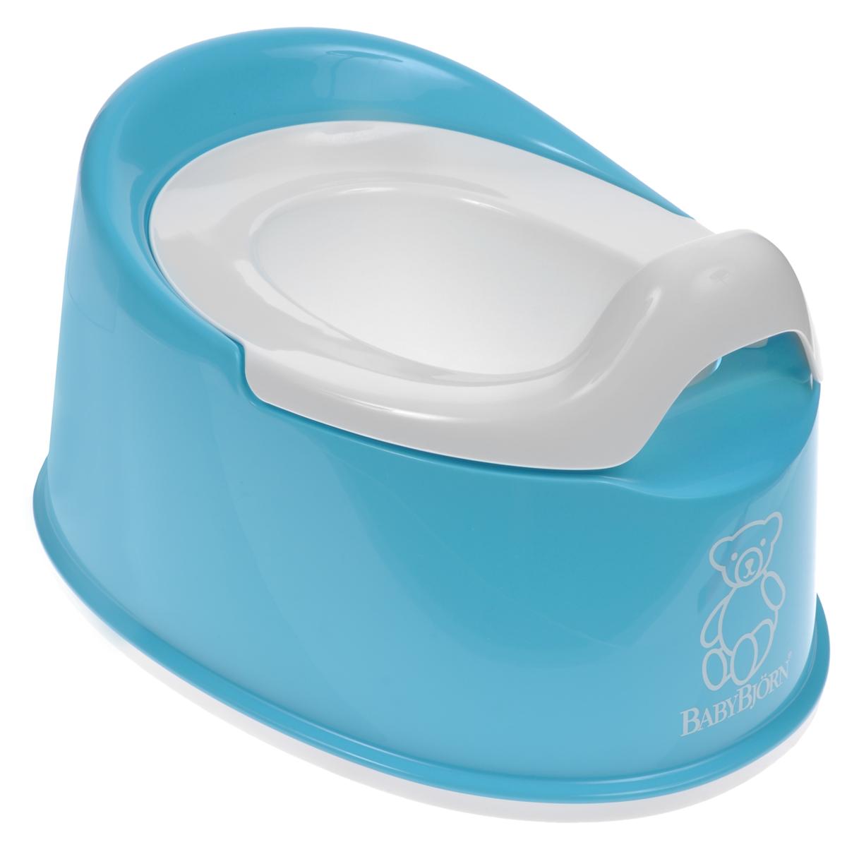 Горшок туалетный детский BabyBjorn Smart, цвет: бирюзовый0510,13Детский туалетный горшок BabyBjorn Smart представляет собой превосходное сочетание функциональности и продуманного дизайна. Несмотря на маленькие размеры, он устойчив, его легко содержать в чистоте, и поэтому он идеально подходит даже для небольшого помещения. Он занимает мало места и его легко брать с собой. Кроме того, благодаря эргономичному дизайну и мягким контурам, ребенку приятно и удобно им пользоваться. Внутренняя часть горшка легко вынимается и моется отдельно. Горшок выполнен из пластика, поддающегося утилизации и не содержащего ПВХ. Устойчиво стоит на месте благодаря резиновым планкам. Рекомендуемый возраст: от 6 месяцев до 4 лет.