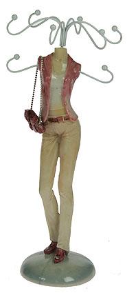 Подставка для цепочек Модница, цвет: бежевый. 2760227602Оригинальная подставка для цепочек Модница благодаря своей практичности и необычности станет не только идеальным подарком представительнице прекрасного пола, но и изысканным украшением интерьера. Подставка выполнена в виде фигуры девушки, одетой в узкие бежевые джинсы и приталенный жакет. Подставка выполнена из полистоуна и оснащена металлическими крючками для подвешивания украшений.