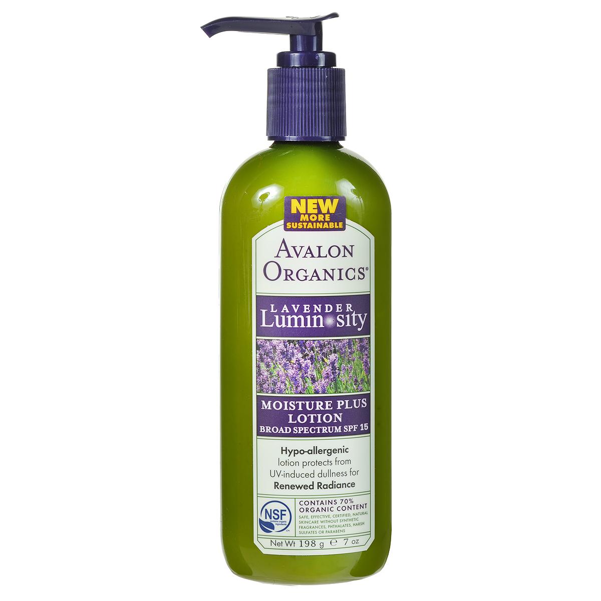 Avalon Organics Лосьон для лица Lavender Luminosity, увлажняющий, SPF 15, 198 гAV35320Гипоаллергенный, очень легкий лосьон-крем Lavender Luminosity с минеральными солнцезащитными фильтрами от UVA и UVB лучей обеспечивает эффективную защиту кожи от повреждающего воздействия солнечных лучей и преждевременного старения. Моментально наполняет кожу жизненной влагой растительных экстрактов, глубоко увлажняет, питает и способствует красивому, ровному, сияющему цвету и тону кожи на долгое время. Способ применения: наносить ежедневно утром и вечером на очищенную кожу, за 15 минут довыхода на солнце. Для более эффективного воздействия можно использовать после Лавандовой Обновляющей сыворотки.