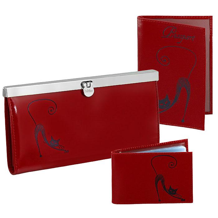 Подарочный набор Befler: обложка для паспорта, визитница, портмоне, цвет: красный. O.31.-1.red/V.37.-1.red/PJ.37.-1.redO.31.re/V.37.re/PJ.37.redПодарочный набор Befler состоит из обложки для паспорта, визитницы и портмоне. Предметы набора выполнены из натуральной кожи красного цвета и оформлены декоративным тиснением в виде черной кошки. Обложка для паспорта не только поможет сохранить внешний вид ваших документов и защитить их от повреждений, но и станет стильным аксессуаром, идеально подходящим вашему образу. Компактная горизонтальная визитница содержит 20 прозрачных файлов на 20 визиток. Стильное портмоне закрывается на металлический замок с защелкой. Внутри имеет четыре отделения для купюр, накладной карман для кредитных карт и карман для мелочи на застежке-молнии. Подарочный набор Befler станет великолепным подарком для человека, ценящего качественные и практичные вещи.