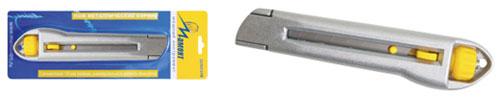 Нож с винтовым фиксатором Мамонт, 18 мм20101318Нож с винтовым фиксатором Мамонт. Корпус изготовлен из металла. Имеет кнопку ступенчатого перемещения лезвия.