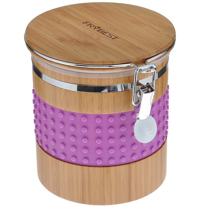 Контейнер бамбуковый Murmure de Bambou, с силиконовыми вставками, цвет: фиолетовый, 13,6 x 17,2 x 14,8 смCA19315B1N1Контейнер Murmure de Bambou великолепно подходит для хранения сухих и сыпучих продуктов. Элегантная комбинация высококачественных материалов бамбука и силикона обеспечивается долговечность и практичность контейнера. Бамбук - натуральный природный материал, обладающий антибактериальным эффектом. Яркий и стильный дизайн изделия станет украшением вашей кухни. Характеристики: Материал: силикон, бамбук. Размер контейнера (с учетом крышки): 13,6 см х 17,2 см х 14,8 см. Размер упаковки: 14,5 см х 14,5 см х 16 см. Производитель: Китай. Артикул: CA19315B1N1.