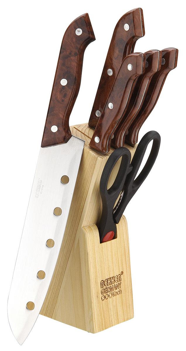 Набор кухонных ножей Bekker BK-120, 7 предметовBK-120Набор кухонных ножей Bekker, изготовленных из нержавеющей стали, поможет вам в приготовлении любого блюда. Набор состоит из поварского ножа, ножа для хлеба, разделочного ножа, универсального ножа, ножа для очистки и ножниц. Высоколегированная сталь надолго сохранит ваши ножи острыми. Благодаря эргономичному дизайну ручки, ножами удобно пользоваться. Ножи компактно хранятся в стильной подставке из высококачественной древесины. Набор кухонных ножей Bekker станет незаменимым помощником и идеальным украшением любой кухни.