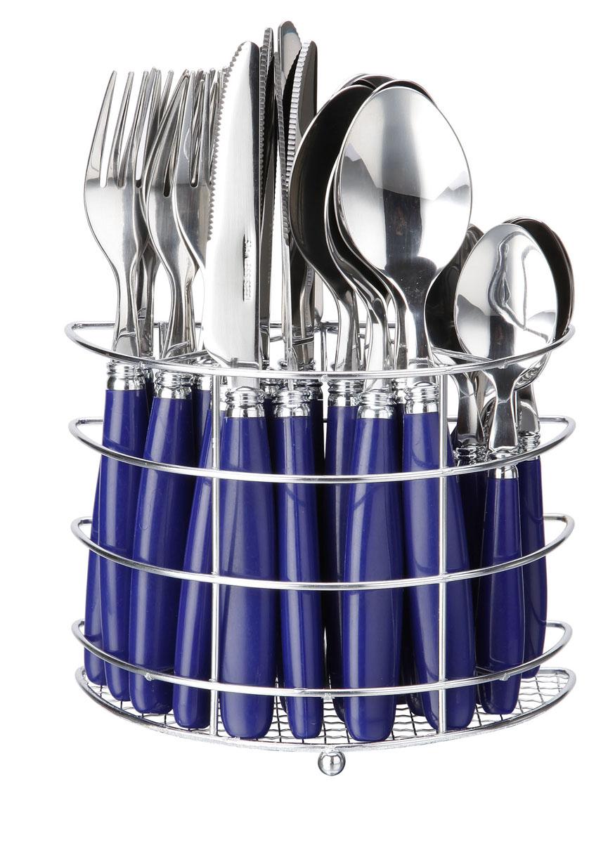 Набор столовых приборов Bekker Koch, цвет: синий, 25 предметов. BK-3303BK-3303Набор столовых приборов Bekker выполнен из коррозионностойкой стали и высококачественного пластика. В набор входит 25 предметов: 6 обеденных ножей, 6 обеденных ложек, 6 обеденных вилок, 6 чайных ложек и металлическая подставка. Приборы имеют оригинальные удобные ручки с пластиковыми вставками. Прекрасное сочетание свежего дизайна и удобство использования предметов набора придется по душе каждому. Набор столовых приборов Bekker подойдет для сервировки стола, как дома, так и на даче и всегда будет важной частью трапезы, а также станет замечательным подарком. Характеристики: Материал: металл, пластик. Цвет: синий. Длина ножа: 22 см. Длина столовой ложки: 21 см. Длина вилки: 21 см. Длина чайной ложки: 15 см. Размер подставки: 17 см x 12 см x 8 см. Размер упаковки: 21 см х 24 см х 9 см. Артикул: BK-3303.