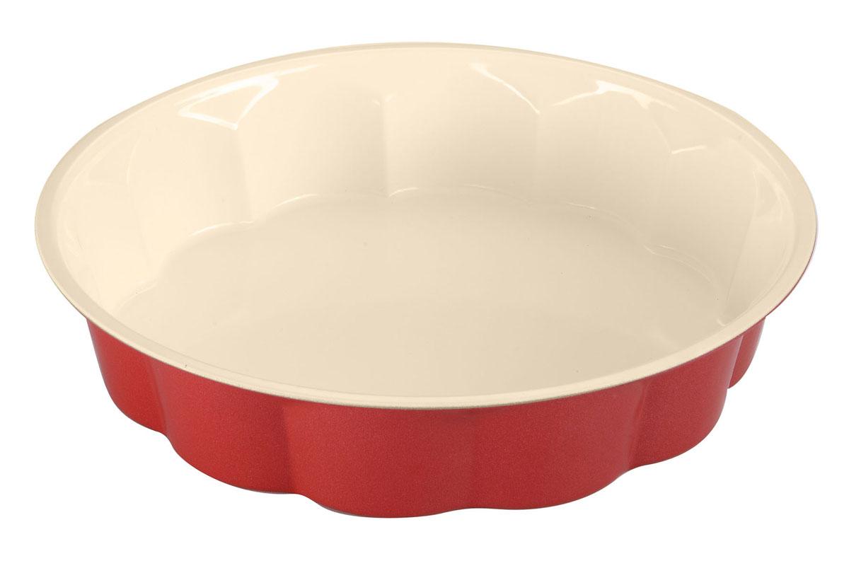 Форма для выпечки Bekker с антипригарным покрытием, диаметр 28 см. BK-3966BK-3966Форма для выпечки Bekker изготовлена из углеродистой стали с антипригарным керамическим покрытием Pfluon, благодаря чему пища не пригорает и прилипает к стенкам посуды. Кроме того, готовить можно с добавлением минимального количества масла и жиров. Керамическое покрытие также обеспечивает легкость мытья. Внешнее жаростойкое покрытие красного цвета делает форму оригинальным кухонным аксессуаром. Внутренние боковые стенки рельефные, что придаст вашей выпечке особую аппетитную форму. Подходит для использования в духовом шкафу. Не подходит для СВЧ-печей. Рекомендуется ручная чистка. Используйте только деревянные и пластиковые лопатки.