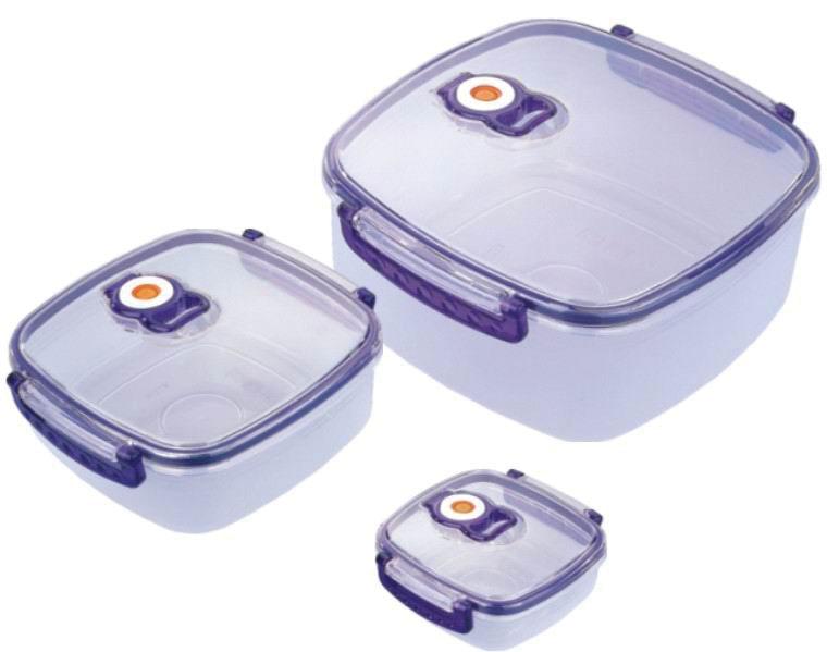 Набор вакуумных контейнеров Bekker с крышками, 3 шт. BK-5101BK-5101Набор Bekker состоит из трех квадратных контейнеров с крышками, выполненных из пищевого пластика. Крышки оснащены удобными ручками, с помощью которых изделия плотно закрываются. Благодаря клапану внутри контейнеров создается вакуум, не пропускающий лишний воздух. Именно поэтому продукты в вакуумных контейнерах дольше сохраняют свежесть. Изделия складываются друг в друга, поэтому их просто хранить, и они не займут много места на вашей кухне. Изделия пригодны для использования в микроволновой печи и для хранения в морозильной камере и холодильнике. Характеристики: Материал: пластик. Комплектация: 3 шт. Объем: 2280 мл, 920 мл, 330 мл. Размер контейнеров (по верхнему краю): 19 см х 19 см, 15 см х 15 см, 11 см х 11 см. Высота стенки: 8 см, 5 см, 3,5 см. Размер упаковки: 21,5 см x 20,5 см x 10 см. Артикул: BK-5101.