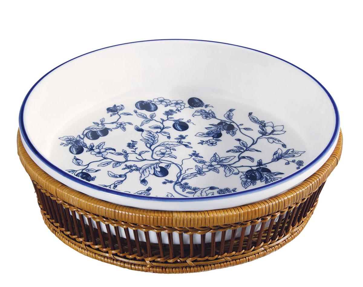 Блюдо BK-7000 (в корзине), цвет: голубойBK-7000 голубойБлюдо кругл. 28* 6см, в плетен. корзине, 3 расцветки. Состав: жаропр. керамика.