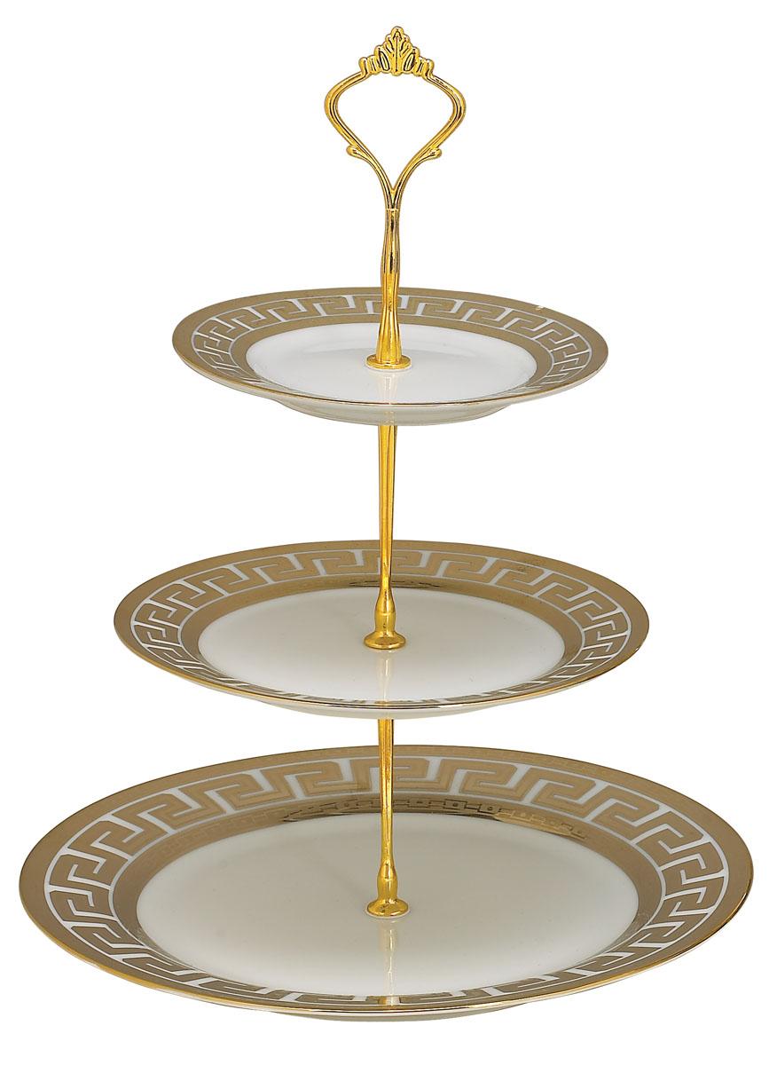 Ваза для фруктов Bekker BK-7501, 3 ярусаBK-7501Элегантная ваза Bekker, выполненная из фарфора, сочетает в себе изысканный дизайн с максимальной функциональностью. Ваза предназначена для красивой сервировки фруктов. Ярусы вазы оформлены красивым золотым узором. Держатель вазы выполнен из металла. Ваза для фруктов Bekker украсит сервировку вашего стола и подчеркнет прекрасный вкус хозяина, а также станет отличным подарком. Характеристики: Материал: фарфор, металл. Диаметр нижнего яруса: 27 см. Диаметр среднего яруса: 19 см. Диаметр верхнего яруса: 15 см. Размер упаковки: 27 см х 27 см х 4 см. Артикул: BK-7501.