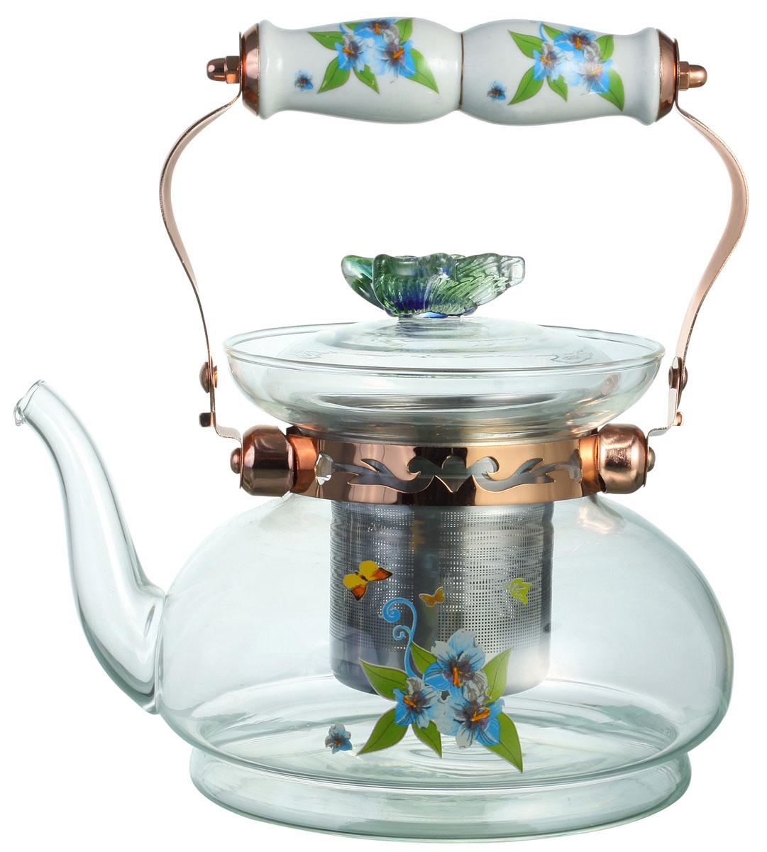Чайник заварочный Bekker, цвет: голубые цветы, 1,2 л. BK-7617BK-7617Заварочный чайник Bekker выполнен из жаростойкого стекла, которое хорошо удерживает тепло. Ручка и съемное ситечко внутри чайника выполнены из высококачественной нержавеющей стали. Высокая ручка чайника, снабженная фарфоровой насадкой, позволяет с легкостью удерживать его на весу. Съемное ситечко для заварки предотвращает попадание чаинок и листочков в настой. Заварочный чайник украшен изящным рисунком, что придает ему элегантность. Заварочный чайник из стекла удобно использовать для повседневного заваривания чая практически любого сорта. Но цветочные, фруктовые, красные и желтые сорта чая лучше других раскрывают свой вкус и аромат при заваривании именно в стеклянных чайниках и сохраняют полезные ферменты и витамины, содержащиеся в чайных листах. Высота чайника: 13 см.