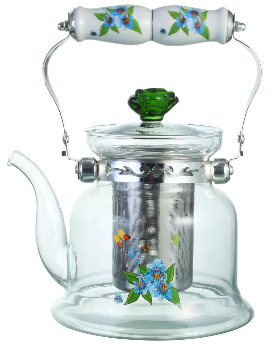Чайник заварочный Bekker, цвет: голубые цветы, 1,2 л. BK-7619BK-7619Заварочный чайник Bekker выполнен из жаростойкого стекла, которое хорошо удерживает тепло. Ручка и съемное ситечко внутри чайника выполнены из высококачественной нержавеющей стали. Высокая ручка чайника, снабженная фарфоровой насадкой, позволяет с легкостью удерживать его на весу. Съемное ситечко для заварки предотвращает попадание чаинок и листочков в настой. Заварочный чайник украшен изящным рисунком, что придает ему элегантность. Заварочный чайник из стекла удобно использовать для повседневного заваривания чая практически любого сорта. Но цветочные, фруктовые, красные и желтые сорта чая лучше других раскрывают свой вкус и аромат при заваривании именно в стеклянных чайниках и сохраняют полезные ферменты и витамины, содержащиеся в чайных листах. Высота чайника: 16 см.