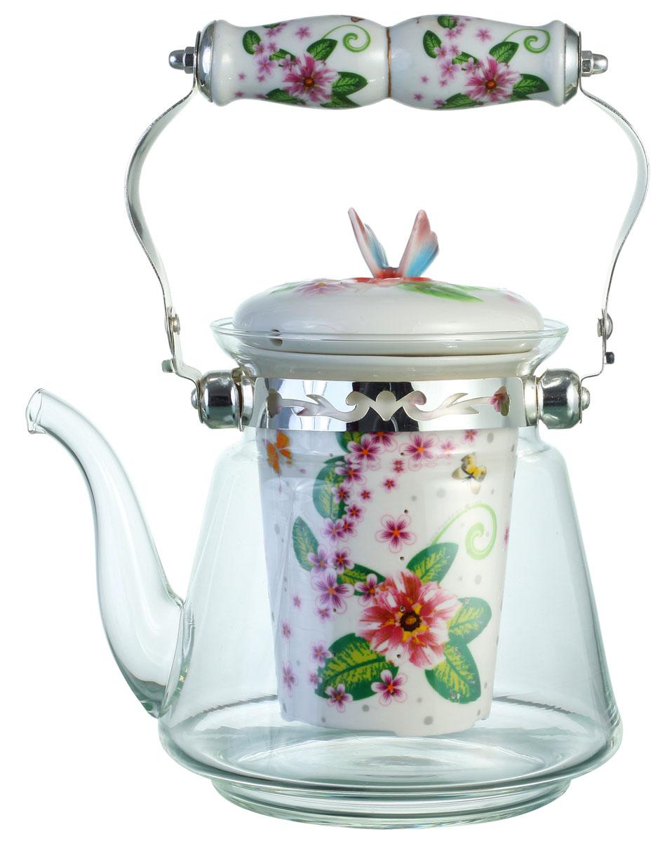 """Чайник заварочный """"Bekker"""", цвет: розовые цветы, 1,4 л. BK-7623"""