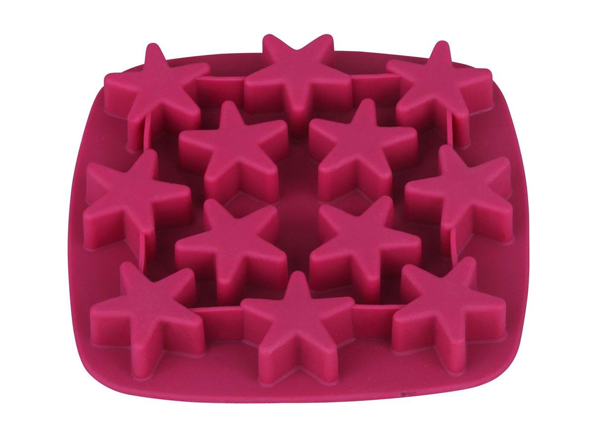 Форма для льда Bekker Звездочки, силиконовая, цвет: вишневый