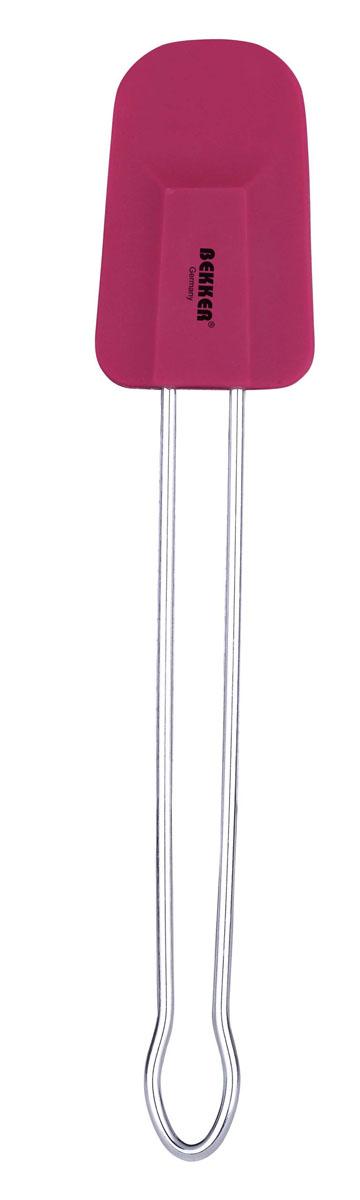 Лопатка кулинарная Bekker, цвет: вишневыйBK-9516Кулинарная лопатка Bekker станет вашим незаменимым помощником на кухне. Рабочая часть лопатки выполнена из силикона, ручка изготовлена из металла. Силиконовая часть лопатки выдерживает температуру до +230°С. Силикон абсолютно безвреден для здоровья, не впитывает запахи, не оставляет пятен, легко моется. Кулинарная лопатка Bekker - практичный и необходимый подарок любой хозяйке! Можно мыть в посудомоечной машине. Характеристики: Материал: силикон, металл. Длина лопатки: 25 см. Размер рабочей части лопатки: 8 см х 5 см х 1 см. Размер упаковки: 25 см х 7 см х 1 см. Артикул: BK-9516.