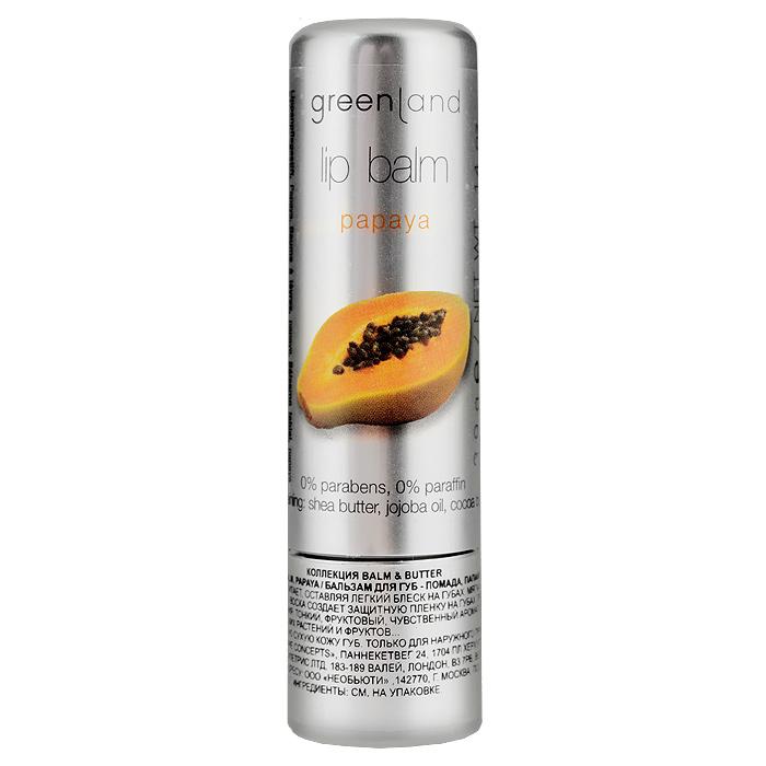 Greenland Бальзам для губ Balm & Butter, с папайей, 3,9 г0977-BB15Бальзам для губ увлажняет и питает, оставляя легкий блеск на губах. Мягкая обволакивающая текстура на основе пчелиного воска создает защитную пленку на губах, при этом не забивает поры и не вызывает привыкания. Тонкий, фруктовый, чувственный аромат папайи перенесет Вас в тропики - колыбель экзотических растений и фруктов... Способ применения: Наносите на чистую сухую кожу губ. Характеристики: Вес: 3,9 г. Артикул: 0977-BB15. Производитель: Нидерланды. Товар сертифицирован. Состав: клещевина, октилдодеканол, пчелиный воск, канделильский воск, карнаубский воск, масло жожоба, какао масло, этилгексил гидроксистеарат, каприлил/каприк триглицерид, этилгексил палмитат, масло ши, изодецилнеопентаноат, токоферол ацетат, бисаболол, лецитин.