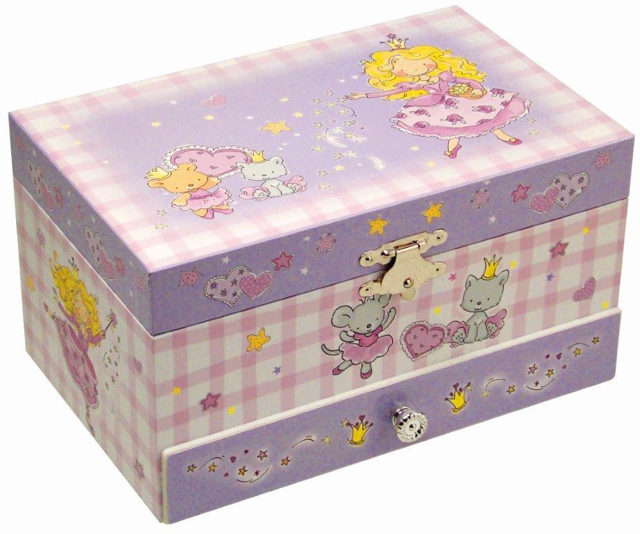 Музыкальная шкатулка Jakos Принцесса, цвет: белый, сиреневый60000_3Яркая музыкальная шкатулка Jakos Принцесса приведет в восторг вашу малышку. Шкатулка выполнена из картона и пластика и оформлена ярким изображением принцессы и очаровательных зверьков. Внутри шкатулки находятся два отделения для хранения разнообразных украшений, небольшое зеркальце, валики для хранения колец. Нижнее отделение выдвигается. Внутри напротив зеркальца расположена фигурка принцессы, которая при открытии крышки начинает кружиться, и звучит приятная мелодия. Шкатулка оснащена металлическим заводным механизмом. Приятная мелодия музыкальной шкатулки успокаивает и дарит романтическое настроение. Шкатулка оформлена в нежных пастельных тонах и прекрасно впишется в любой интерьер. Музыкальная шкатулка Jakos Принцесса непременно понравится вашей девочке. Малышка сможет хранить в ней украшения, дорогие ей мелочи и свои секреты.