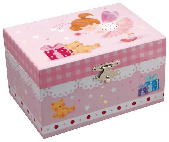 Музыкальная шкатулка Феечка с мишкой, 15 см х 10,5 см х 8,5 см50000_5Музыкальная шкатулка «Фея с мишкой» непременно понравится Вашей девочке! Малышка сможет хранить там мелкие вещи и свои секреты. Шкатулка имеет прямоугольную форму и оформлена симпатичными рисунками в виде мишки и феи. Музыкальная шкатулка выполнена в нежных пастельных тонах и не раздражает глаз ребенка. Внутри шкатулки есть маленькое зеркальце и фигурка феи. При заводе шкатулки, фигурка кружится и звучит приятная мелодия. Шкатулка станет чудесным подарком к любому празднику! Характеристики: Материал: пластик. Размер шкатулки: 15 см х 10,5 см х 8,5 см. Размер упаковки: 15,2 см х 11 см х 9 см. Производитель: Китай.