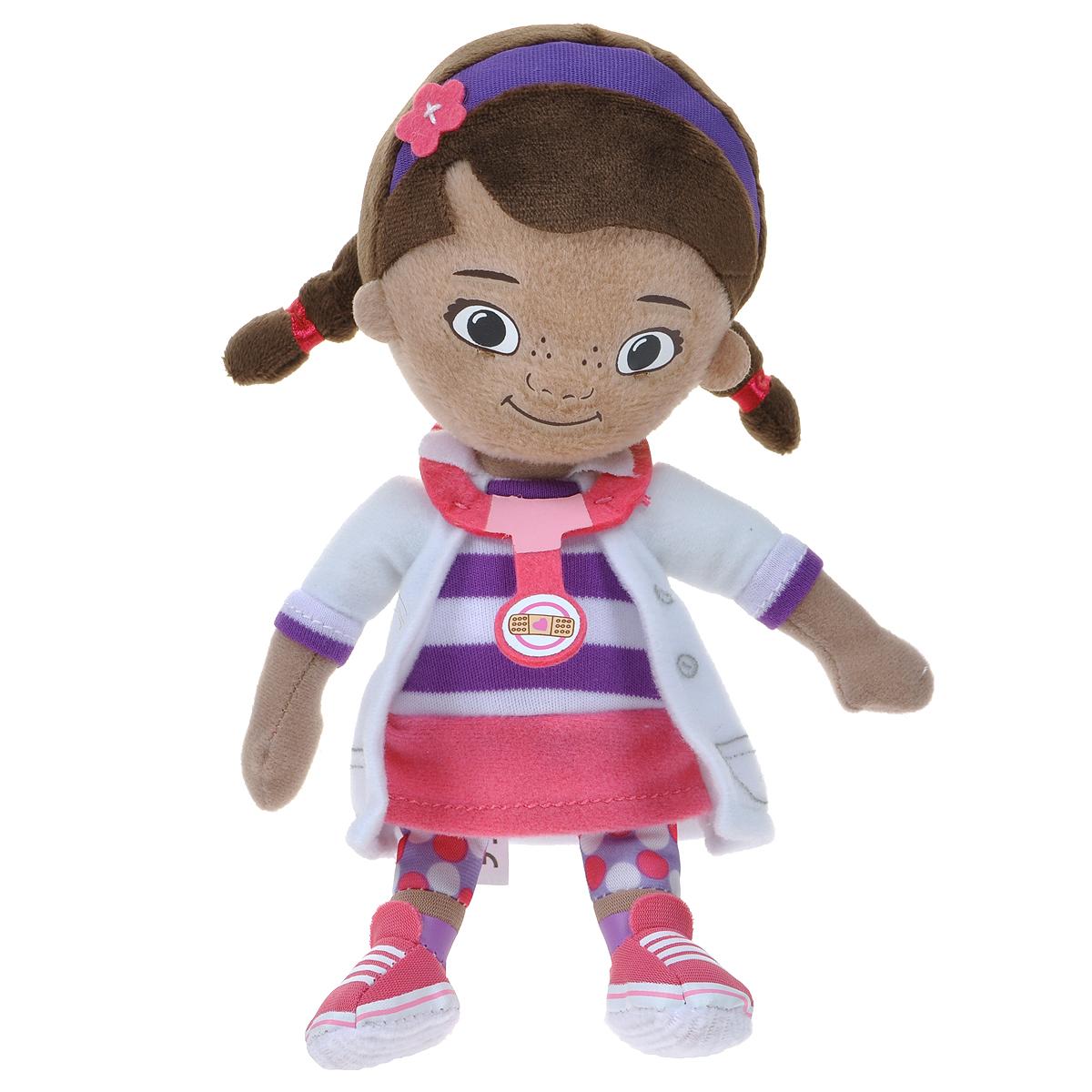 Мягкая игрушка Disney Доктор Плюшева, 20 см1200453Забавная игрушка Доктор Плюшева в виде главного героя одноименного мультфильма привлечет внимание каждого малыша. Она сшита из приятных на ощупь, качественных материалов, полностью безвредных для ребенка. С такой игрушкой можно смело отправляться на прогулку или засыпать в кроватке. Игра с ней способствует развитию тактильной чувствительности и воображения у детей.