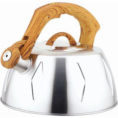 Чайник металлический Bekker De Luxe, цвет: стальной, 2,8 л. BK-S456BK-S456 стальнойКорпус чайника Bekker De Luxe выполнен из высококачественной нержавеющей стали, что обеспечивает долговечность использования. Матовая поверхность корпуса придает приятный внешний вид. Пластмассовая ручка с прорезиненным покрытием делает использование чайника очень удобным и безопасным. Чайник снабжен свистком и устройством для открывания носика. Ручка стилизована под дерево. Капсулированное дно. Рекомендована ручная чистка. Характеристики: Материал: нержавеющая сталь, пластик, резина. Объем: 2,8 л. Диаметр основания чайника: 22,5 см. Толщина стенки: 0,5 мм. Высота чайника (без учета ручки): 11 см. Размер упаковки: 22,5 см х 22,5 см х 20 см.