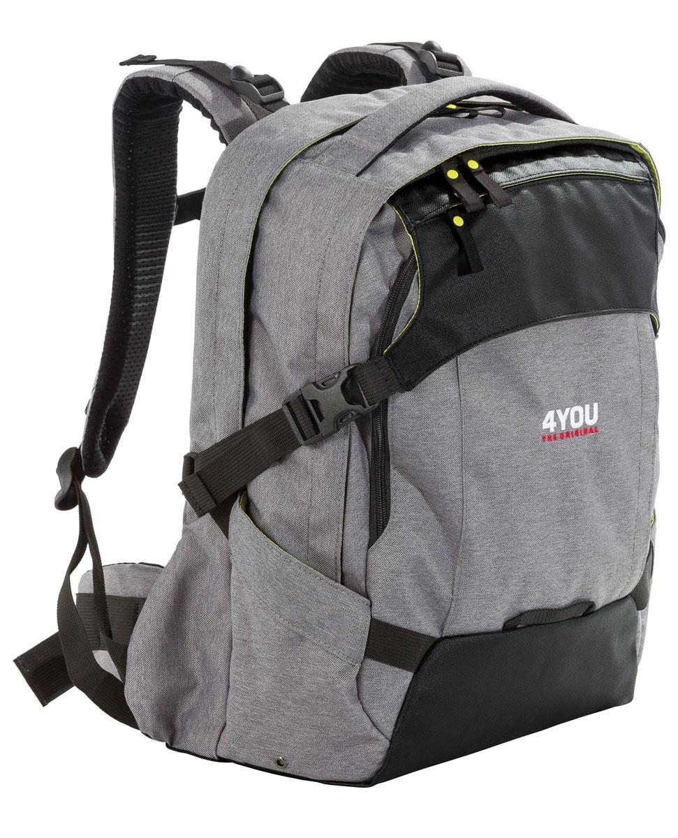 Рюкзак школьный 4You Tight Fit, цвет: серый117000-184Школьный рюкзак 4You Tight Fit станет надежным спутником в получении знаний. Он выполнен из прочного материала серого и черного цвета с внутренней салатовой отделкой. Особенности рюкзака 4You Tight Fit: Рюкзак с регулируемой по высоте спинкой для более удобной посадки Анатомически-скроенный поясной ремень с мягкими боковыми вкладками для переноса тяжести с позвоночника на бедра. 2 боковых кармана и 2 передних кармана на молнии для проездного билета. Внутренний органайзер с кармашком для мобильного телефона. 2 основных отделения, мягкие отделения для ноутбука и планшета. Нагрудный ремень, удобная ручка для переноски. Бегунки на застежках дополнены удобными держателями. Широкие мягкие лямки, регулируются по длине и равномерно распределяют нагрузку на плечевой пояс. Школьные рюкзаки 4YOU - это модные стильные рюкзаки премиум-класса для старших школьников и подростков, тех, кто стремится выделиться, приобрести свой...