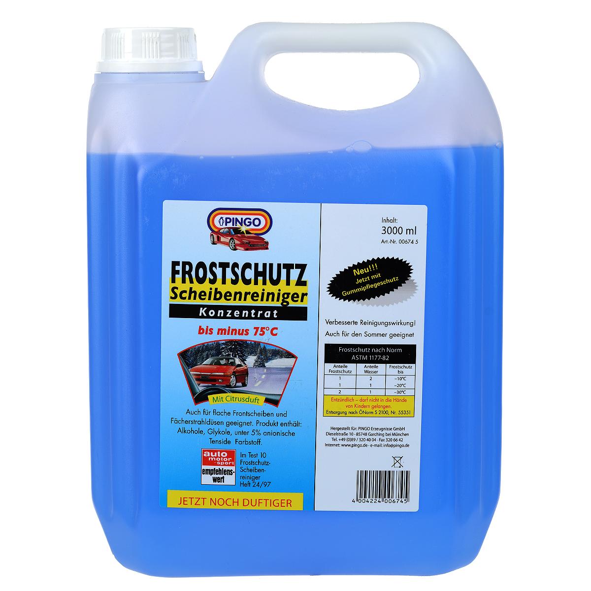 Незамерзающая стеклоочистительная жидкость Pingo, до -75°С, 3 л00674-5Обеспечивает быструю очистку лобового стекла автомобиля от дорожной грязи, химических реагентов, масляной пленки и т.д. Концентрат разбавляется водой в различных пропорциях в зависимости от температуры воздуха. Готовый состав не замерзает ни на стеклах, ни в шлангах, ни в форсунках стеклоомывателя. Благодаря наличию в составе активных моющих компонентов препарат эффективно и быстро очищает стекла от загрязнений, не оставляя разводов и мутной пленки. Содержит компоненты, удаляющие известковые отложения в шлангах и форсунках стеклоомывателя. Не повреждает лакокрасочное покрытие и пластик. Не содержит метанола. Изготовлена на базе изопропилового спирта. Способ применения: залить в бачок стеклоомывателя, разбавить водой в соответствии с таблицей, указанной на главной этикетке. Меры предосторожности: Избегать проглатывания и попадания в глаза. Не давать детям. Характеристики: Размер емкости: 19 см х 9,5 см х 25 см. Размер упаковки: 19 см х 9,5 см х 25...