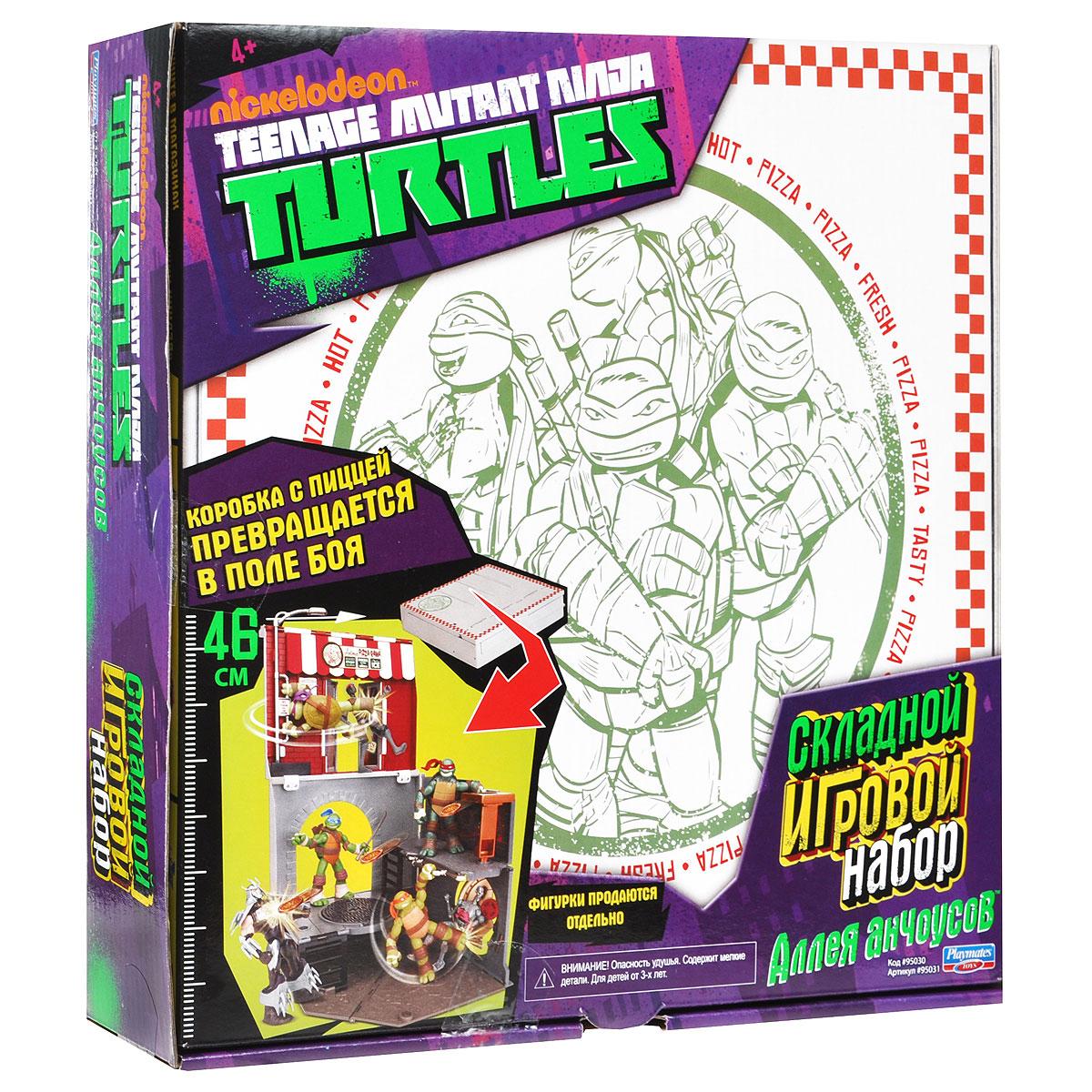 Игровой набор Turtles Анчоусная аллея95031Черепашки-Ниндзя обожают подкрепиться пиццей перед опасными миссиями! Игровой набор Turtles Анчоусная аллея представляет собой коробку с любимым лакомством черепашек. Если раскрыть коробку, она трансформируется в небольшую пиццерию, являющуюся полем боя с различными секретными ловушками. На поле боя есть потайной люк, который скидывает злодеев вниз, специальный поручень на фонарном столбе, держась за который Черепашка может произвести удар ногами. На боковой стенке имеется крышка канализационного люка, которая подвижна и состоит из двух частей, что позволит скинуть врага в канализацию. Столик для клиентов также является установкой для запуска дисков в виде пиццы. В комплекте игры: коробка-трансформер, четыре диска в форме пиццы, наклейки для декорирования и схематичная инструкция по сборке на русском языке.
