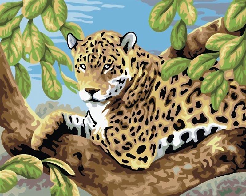 Живопись на холсте Леопард в лесу, 30 х 40 смCE-240Живопись на холсте Леопард в лесу - это набор для раскрашивания по номерам акриловыми красками на холсте. В набор входят: - холст на подрамнике с нанесенным рисунком, - пробный лист с нанесенным рисунком, - набор акриловых красок, - 3 кисти, - настенное крепление для готовой картины. Каждая краска имеет свой номер, соответствующий номеру на картинке. Нужно только аккуратно нанести необходимую краску на отмеченный для нее участок. Таким образом, шаг за шагом у вас получится великолепная картина с изображением леопарда. С помощью серии наборов Живопись на холсте вы можете стать настоящим художником и создателем прекрасных картин. Вы получите истинное удовольствие от погружения в процесс творчества и созданные своими руками картины украсят интерьер вашего дома или станут прекрасным подарком. Техника раскрашивания на холсте по номерам дает возможность легко рисовать даже сложные сюжеты. Прекрасно развивает художественный вкус,...