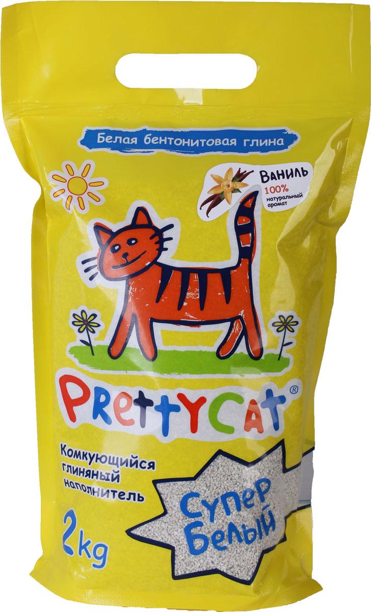 Наполнитель для кошачьих туалетов PrettyCat Супер белый, комкующийся, с ароматом ванили, 2 кг620116Наполнитель для кошачьих туалетов PrettyCat Супер белый - это 100% натуральный комкующийся наполнитель. Изготовлен из белой бентонитовой глины с ароматом ванили. Впитывает до 400% влаги, прекрасно комкуется в идеально ровные шарики. Уничтожает запахи и обеспечивает двойное обеспыливание. Материал: белая бентонитовая глина. Вес: 2 кг. Диаметр гранул: 0,6 - 1,7 мм.
