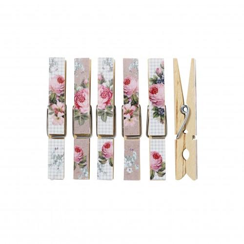 Прищепки деревянные Цветочные, 6 шт. 480704480704Прищепки Цветочные, выполнены из дерева и формлены рисунком в виде цветов. Набор состоит из 6 прищепок для белья, станет незаменимым для любой хозяйки.