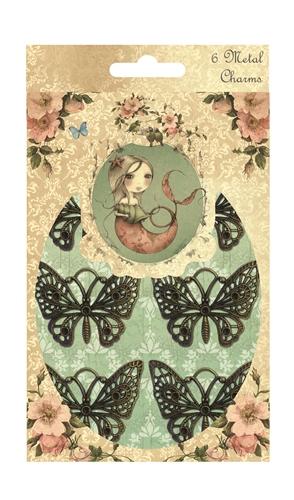 Металлические украшения Trimcraft Бабочки, 6 шт. SNMC001SNMC001Металлические украшения Trimcraft Бабочки позволит юным модницам создавать индивидуальные, красочные браслеты, фенечки, бусы. В набор входят 6 бабочек различной формы. Нанизав элементы у вас получится оригинальный аксессуар, который подойдет к любой одежде.