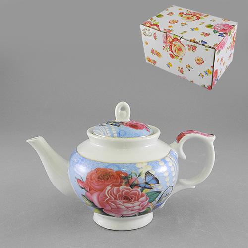 Чайник Шик, цвет: белый, голубой, 450 мл528-379Чайник заварочный Шик изготовлен из высококачественного фарфора белого и голубого цветов. Он имеет изящную форму и оформлен красочным изображением роз и бабочек. Чайник сочетает в себе изысканный дизайн с максимальной функциональностью. Красочность оформления придется по вкусу и ценителям классики, и тем, кто предпочитает утонченность и изысканность. Чайник Шик упакован в картонную коробку. Характеристики: Материал: фарфор. Цвет: белый, голубой. Объем: 450 мл. Размер чайника (без носика и ручки): 10 см х 9 см х 10 см. Размер упаковки: 16 см х 10,5 см х 9,5 см. Артикул: 528-379.