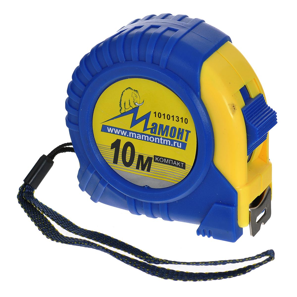 Рулетка Мамонт КОМПАКТ, 10 м х 25мм10101310Рулетка Мамонт КОМПАКТ предназначена для выполнения измерительных работ. Выполнена в обрезиненном корпусе. Имеет ремешок для переноски. Мощный автоматический механизм возврата мерной ленты. Фиксатор ленты для удобства проведения измерений. Легкое считывание замеров обеспечивает удобная шкала с крупными цифрами. Металлический зажим для крепления. Ширина ленты: 2,5 см.