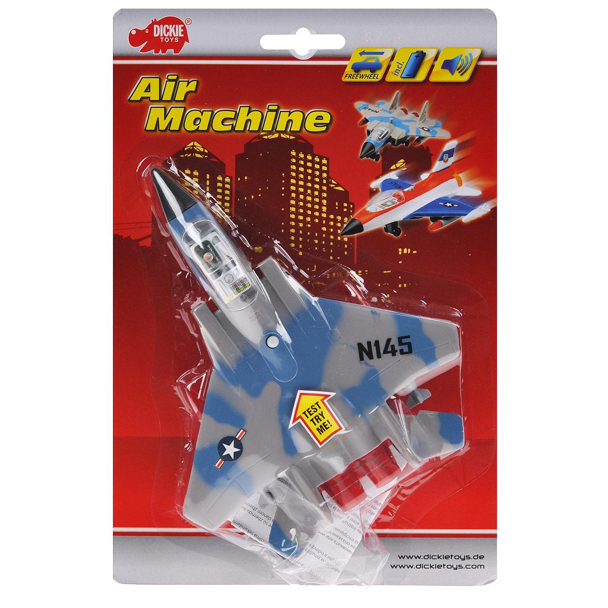DICKIE Истребитель Dickie Toys, в ассортименте3553006Истребитель Dickie Toys является миниатюрной копией настоящего истребителя. Игрушка, изготовленная из пластика, порадует вашего малыша. Истребитель снабжен двумя шасси и двумя ракетами для запуска. При нажатии кнопки на корпусе слышны реалистичные звуки взлетающего и садящегося истребителя.