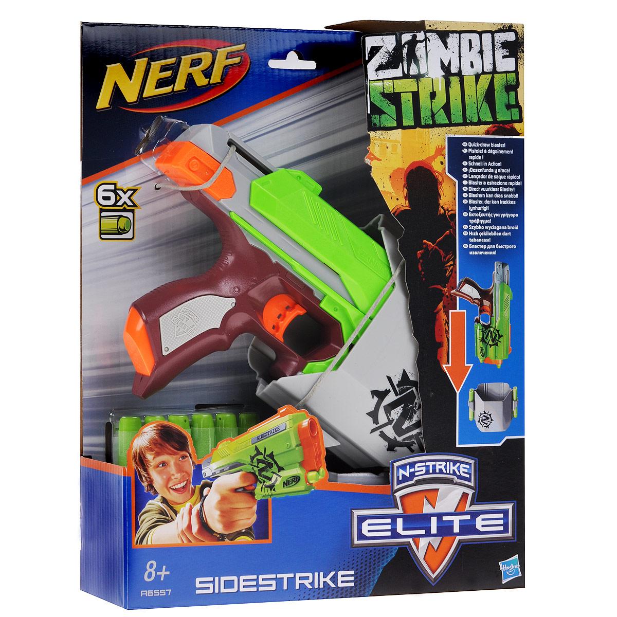 Nerf Бластер Зомби СайдстрайкA6557E24Бластер Nerf Зомби Сайдстрайк позволит вашему ребенку почувствовать себя во всеоружии! Выполненный из яркого безопасного пластика, он представляет собой стильный бластер, стреляющий на расстояние до 22 метров. Для того, что выстрелить, необходимо нажать на курок. В комплект входят шесть мягких стрел серии Элит/Зомби и кобура для крепления к поясу. Игра с бластером Зомби Сайдстрайк поможет ребенку в развитии меткости, ловкости, координации движений и сноровки.