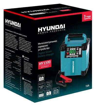 Интеллектуальное зарядное устройство HYUNDAI для АКБ. HY 1500HY 1500Интеллектуальное 6-и ступенчатое зарядное устройство Hyundai. Полностью автоматическое зарядное устройство HY 1500 управляется 12-битным процессом ADC. Данное устройство обладает высокой эффективностью и функцией защиты от ошибок. Предназначено для зарядки 6, 12 и 24 V аккумуляторных батарей легковых и грузовых автомобилей, мотоциклов, снегоходов, катеров (лодок), газонокосилок, тракторов, гидроциклов и т.д. Микропроцессор оценивает состояние батареи и соответствующим образом устанавливает силу зарядного тока от 0,2 до 15 А и напряжение (в зависимости от типа АКБ 6/12/24 V). Это позволяет наиболее эффективно зарядить аккумулятор и продлить срок его службы. Особенности устройства: Встроенный тестер в батарее с функцией отображения вольтажа Светодиодный индикатор Защита при неверном подключении Защита от замыкания Защита от перегрева Степень защиты IP20 Восстановление/десульфатирование Интеллектуальный подбор напряжения и силы тока