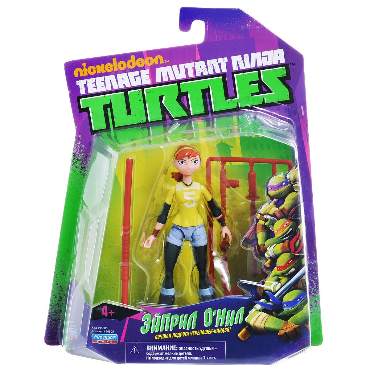 Фигурка Turtles Эйприл, 12 см90508Фигурка Turtles Эйприл станет прекрасным подарком для вашего ребенка. Она выполнена из прочного пластика в виде Эйприл - лучшей подруги Черепашек-Ниндзя. Конечности фигурки подвижны, что позволяет придавать Эйприл различные позы. В комплект входит тренировочный шест-бо и другое оружие Эйприл. Ваш ребенок будет часами играть с этой фигуркой, придумывая различные истории с участием любимого героя. В школе Эйприл была белой вороной, но стала незаменимым членом команды Черепашек! Умная и независимая, она всегда находится в центре событий.