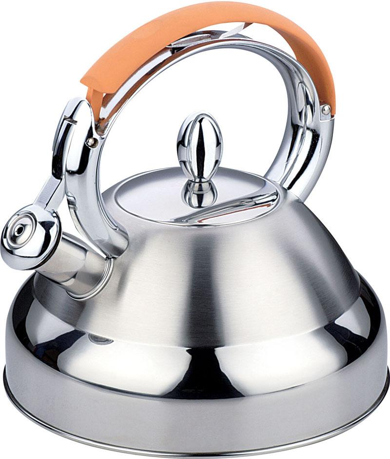 Чайник Bekker De Luxe, со свистком, цвет: оранжевый, 2,7 л. BK-S407BK-S407 оранжевыйКорпус чайника Bekker De Luxe выполнен из высококачественной нержавеющей стали, что обеспечивает долговечность использования. Капсулированное дно чайника способствует быстрому закипанию воды даже при небольшой мощности конфорок. Комбинация зеркальной и матовой полировки придает изделию приятный внешний вид. Металлическая ручка с оранжевым силиконовым покрытием делает использование чайника очень удобным и безопасным. Носик чайника имеет откидной свисток, звуковой сигнал которого подскажет, когда закипит вода. Положение свистка регулируется при помощи нажатия на ручку чайника. Крышка чайника выполнена из стали. Подходит для использования на всех типах плит, включая индукционные. Можно мыть в посудомоечной машине. Характеристики: Материал: нержавеющая сталь 18/10, силикон. Объем: 2,7 л. Диаметр основания чайника: 22 см. Высота чайника (без учета ручки и крышки): 12 см.