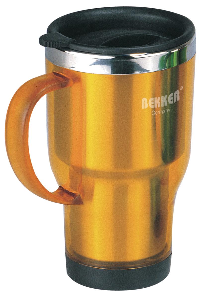 Термос-кружка Bekker, цвет: желтый, 450 мл. BK-4091BK-4091 желтыйТермос-кружка Bekker, выполненный из пластика желтого цвета, пригодится как в экстремальном походе, так и на пикнике и в любой поездке. Внутренняя стенка изделия выполнена из нержавеющей стали. Такой термос сохраняет температуру горячей или холодной воды до 24 часов (через 6 часов - 52°С, через 12 часов - 18°С, через 24 часа - 18°С). Крышка выполнена из пластика и оснащена клапаном для питья. Термос-кружка очень компактен и не займет много места. Теперь вы в любое время и в любом месте сможете насладиться вашим любимым напитком. Характеристики: Материал: пластик, нержавеющая сталь. Цвет: желтый. Объем: 450 мл. Диаметр термоса-кружки по верхнему краю: 9 см. Высота термоса-кружки: 16 см.