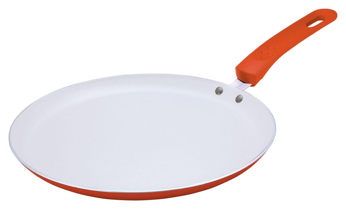 Сковорода блинная Bekker с керамическим покрытием, цвет: оранжевый. Диаметр 24 смBK-3738 оранжевыйСковорода блинная Bekker изготовлена из алюминия с антипригарным керамическим покрытием Excilon белого цвета. Благодаря этому пища не пригорает и не прилипает к стенкам. Готовить можно с минимальным количеством масла и жиров. Внутреннее антипригарное керамическое покрытие обеспечивает легкость ухода за посудой. Внешнее покрытие - жаростойкий лак оранжевого цвета. Сковорода оснащена бакелитовой ручкой с прорезиненным покрытием. Специальная плоская форма сковороды идеально подходит для приготовления блинов. Подходит для газовых, электрических, стеклокерамических плит. Можно мыть в посудомоечной машине. Рекомендации по уходу: - используйте для мытья горячую воду и жидкие моющие средства, избегайте абразивных средств, жестких губок и скребков. - используйте только пластиковые и деревянные лопатки. - не допускайте перегрева посуды. Характеристики: Материал: алюминий, бакелит. Цвет: оранжевый. Диаметр: 24 см. Высота стенки:...